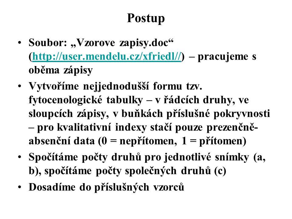 """Postup Soubor: """"Vzorove zapisy.doc (http://user.mendelu.cz/xfriedl//) – pracujeme s oběma zápisyhttp://user.mendelu.cz/xfriedl// Pro každý snímek založíme zvláštní list, do řádku sepíšeme druhy, do buněk příslušné pokryvnosti Spočítáme podíl pokryvnosti k celku (hodnota p i ), takže součet hodnot dává 1 Dosadíme do vzorce"""