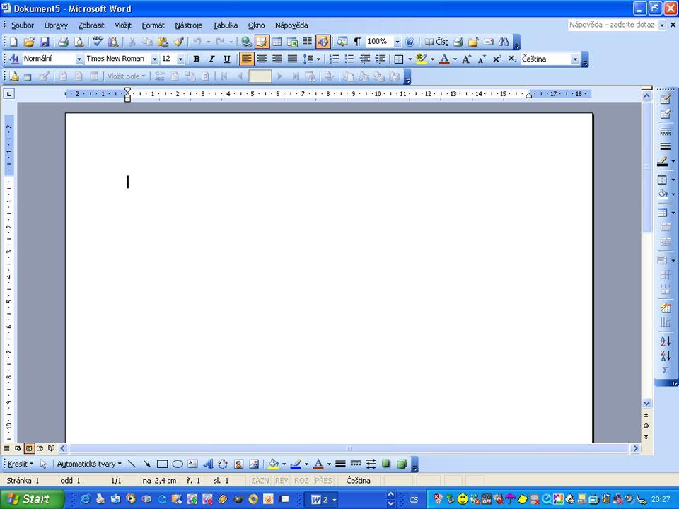 VELIKOST PÍSMA Velikost písma je automaticky č.12 Velikost písma můžeš měnit Jak na to ? Klikni na roletu s tímto znakem : ▼ Roleta se rozvine s volbo