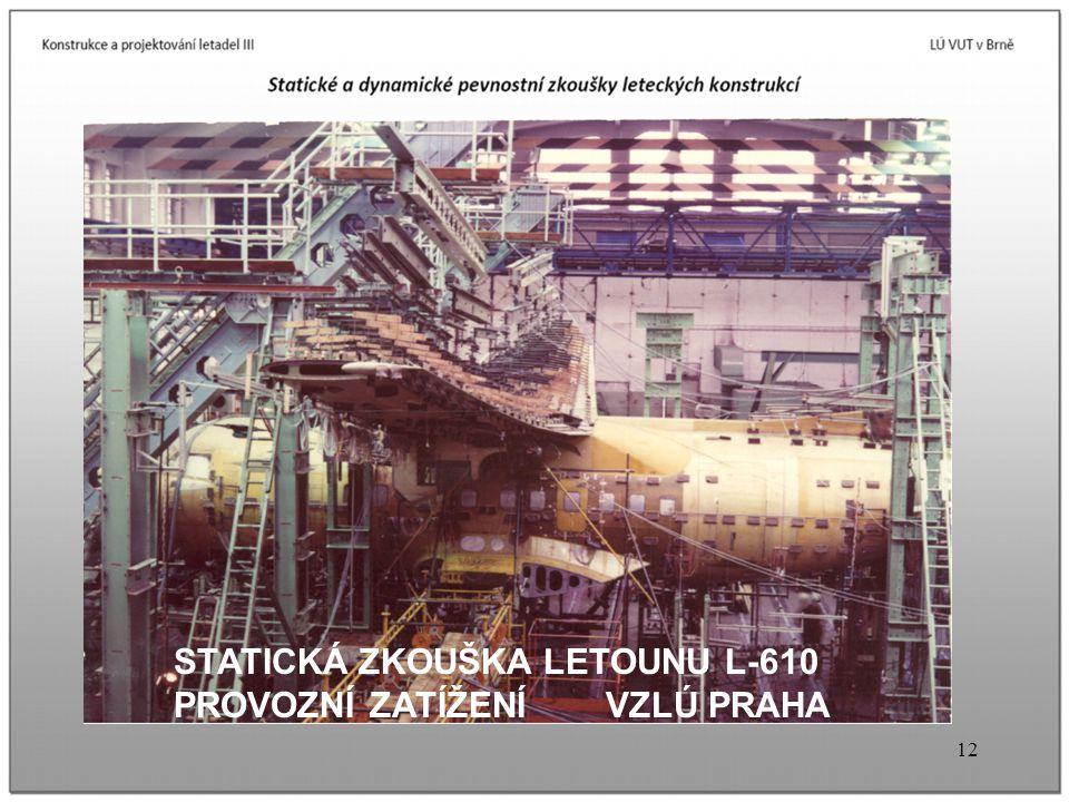 12 STATICKÁ ZKOUŠKA LETOUNU L-610 PROVOZNÍ ZATÍŽENÍ VZLÚ PRAHA