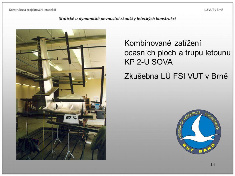 14 Kombinované zatížení ocasních ploch a trupu letounu KP 2-U SOVA Zkušebna LÚ FSI VUT v Brně