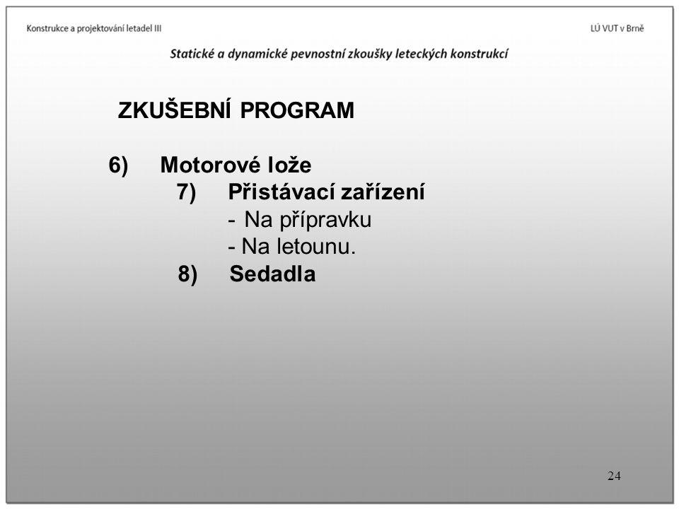24 ZKUŠEBNÍ PROGRAM 6) Motorové lože 7) Přistávací zařízení - Na přípravku - Na letounu. 8) Sedadla