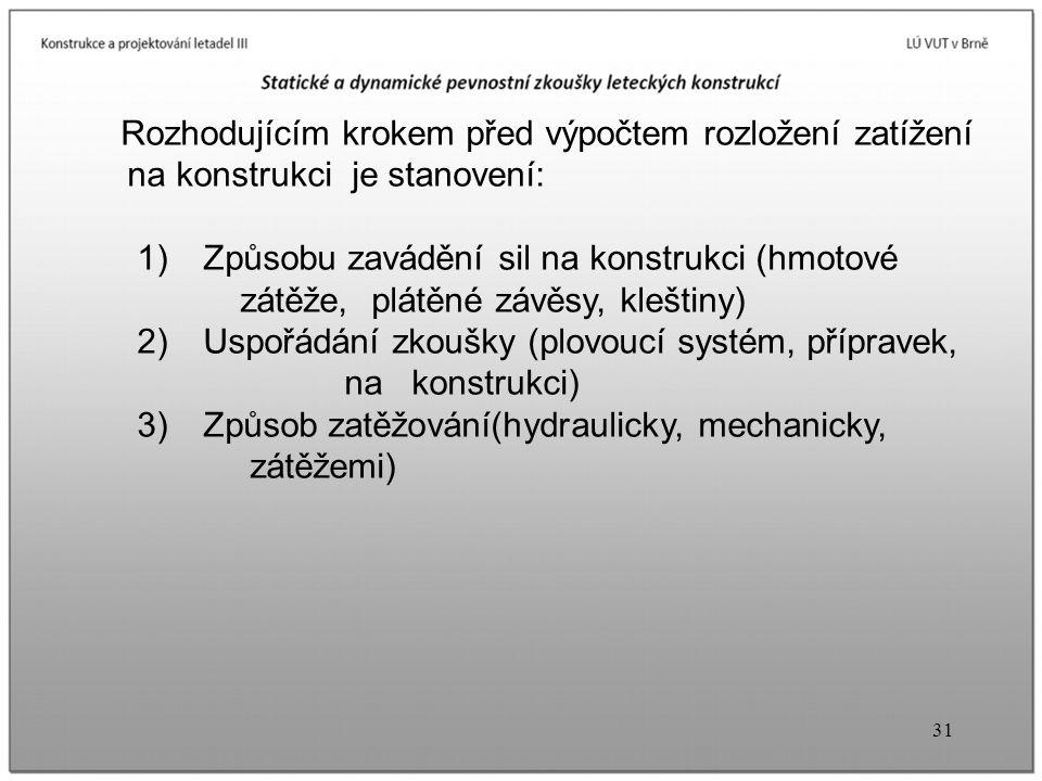 31 Rozhodujícím krokem před výpočtem rozložení zatížení na konstrukci je stanovení: 1) Způsobu zavádění sil na konstrukci (hmotové zátěže, plátěné závěsy, kleštiny) 2) Uspořádání zkoušky (plovoucí systém, přípravek, na konstrukci) 3) Způsob zatěžování(hydraulicky, mechanicky, zátěžemi)