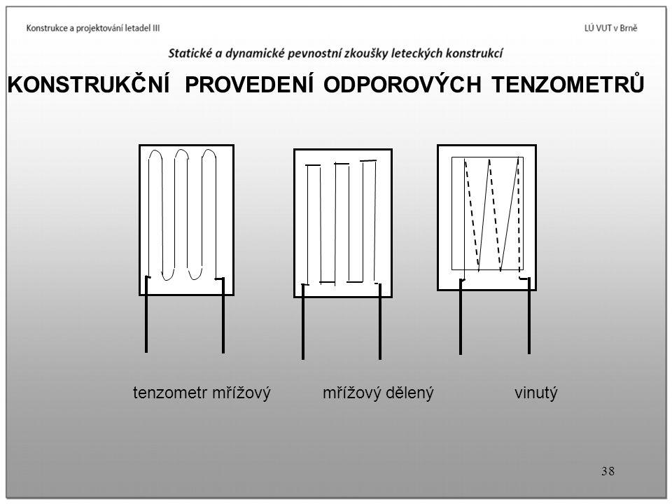 38 KONSTRUKČNÍ PROVEDENÍ ODPOROVÝCH TENZOMETRŮ tenzometr mřížový mřížový dělený vinutý