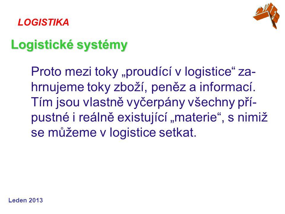 """Leden 2013 Proto mezi toky """"proudící v logistice"""" za- hrnujeme toky zboží, peněz a informací. Tím jsou vlastně vyčerpány všechny pří- pustné i reálně"""