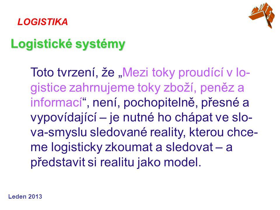 """Leden 2013 Toto tvrzení, že """"Mezi toky proudící v lo- gistice zahrnujeme toky zboží, peněz a informací"""", není, pochopitelně, přesné a vypovídající – j"""