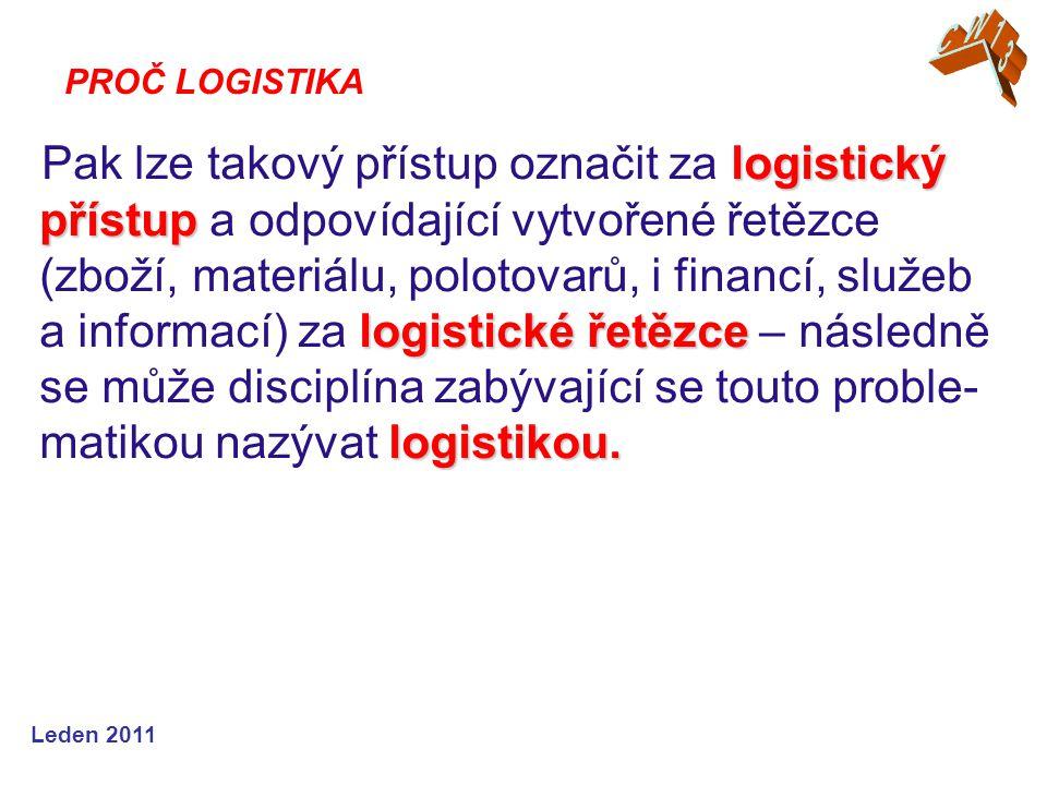 Leden 2011 logistický přístup logistické řetězce logistikou. Pak lze takový přístup označit za logistický přístup a odpovídající vytvořené řetězce (zb