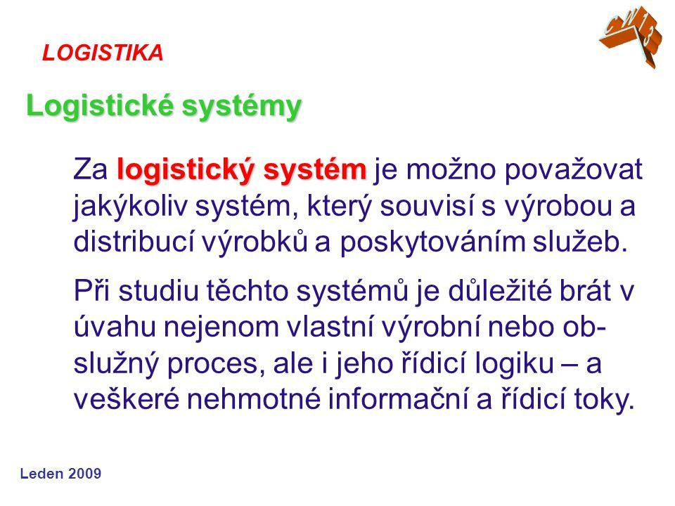 Leden 2009 logistický systém Za logistický systém je možno považovat jakýkoliv systém, který souvisí s výrobou a distribucí výrobků a poskytováním slu