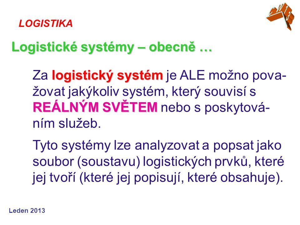 Leden 2013 logistický systém REÁLNÝM SVĚTEM Za logistický systém je ALE možno pova- žovat jakýkoliv systém, který souvisí s REÁLNÝM SVĚTEM nebo s posk