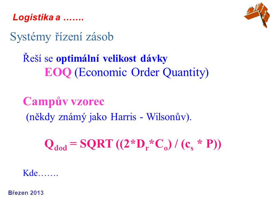 Logistika a ……. Systémy řízení zásob Březen 2013 Řeší se optimální velikost dávky EOQ (Economic Order Quantity) Campův vzorec (někdy známý jako Harris