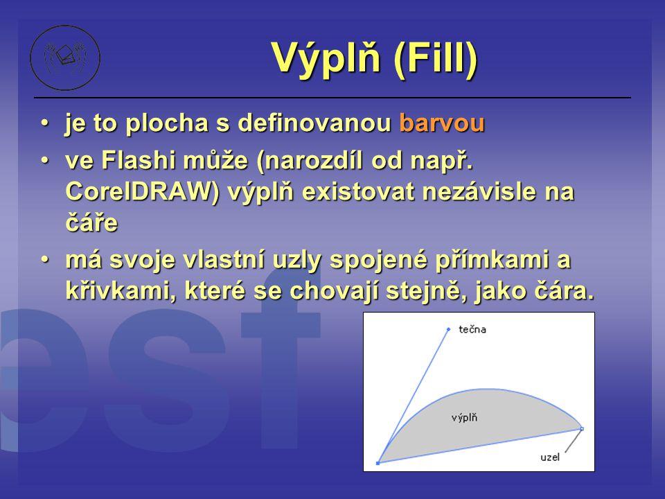 Výplň (Fill) je to plocha s definovanou barvouje to plocha s definovanou barvou ve Flashi může (narozdíl od např. CorelDRAW) výplň existovat nezávisle