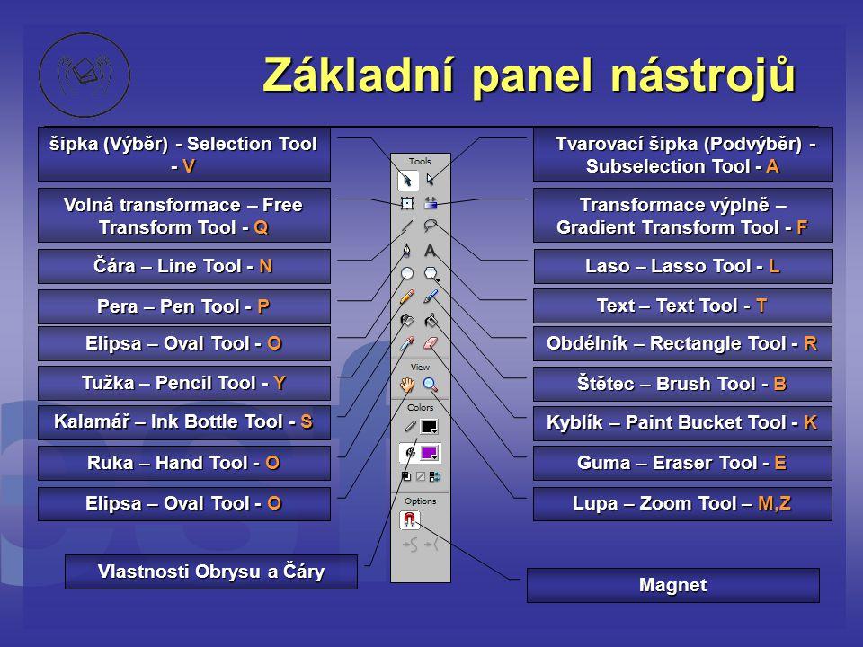 Základní panel nástrojů šipka (Výběr) - Selection Tool - V Tvarovací šipka (Podvýběr) - Subselection Tool - A Tvarovací šipka (Podvýběr) - Subselectio
