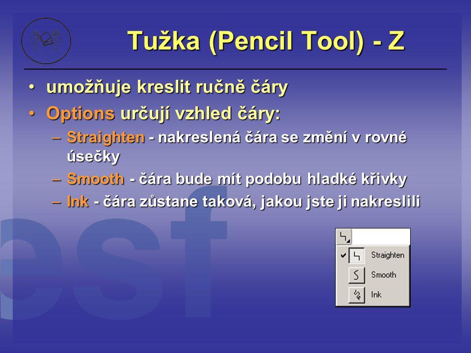 Tužka (Pencil Tool) - Z umožňuje kreslit ručně čáryumožňuje kreslit ručně čáry Options určují vzhled čáry:Options určují vzhled čáry: –Straighten - na