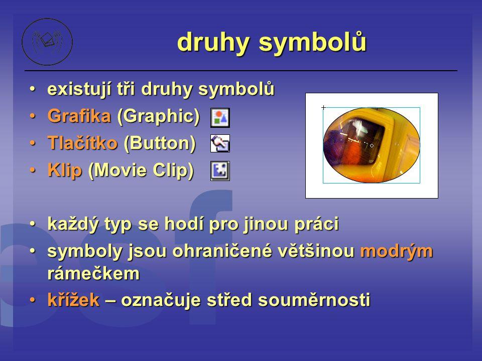 druhy symbolů existují tři druhy symbolůexistují tři druhy symbolů Grafika (Graphic)Grafika (Graphic) Tlačítko (Button)Tlačítko (Button) Klip (Movie C