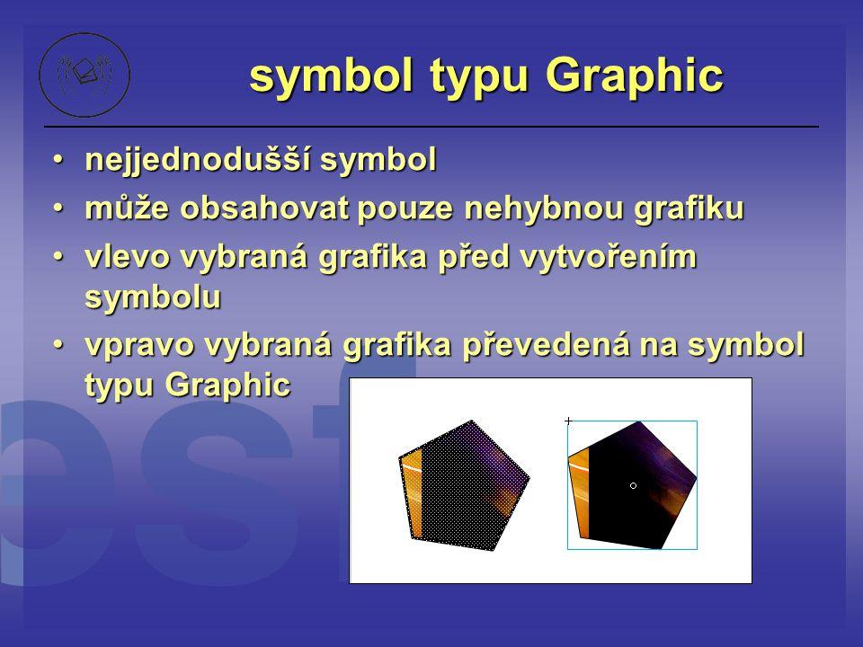 symbol typu Graphic nejjednodušší symbolnejjednodušší symbol může obsahovat pouze nehybnou grafikumůže obsahovat pouze nehybnou grafiku vlevo vybraná
