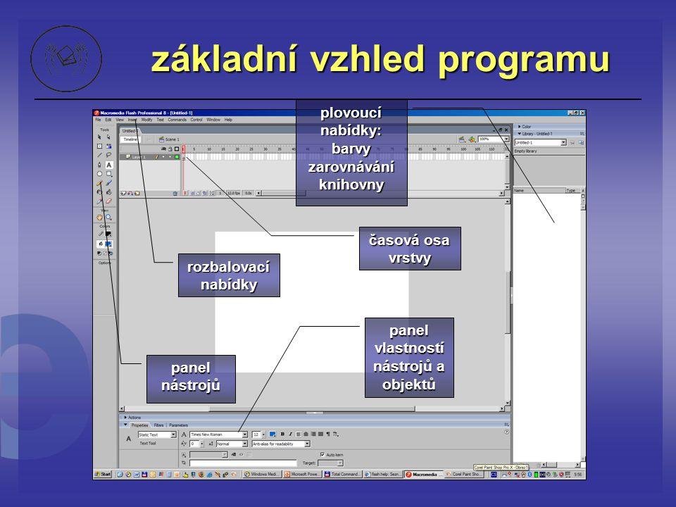 Základní panel nástrojů šipka (Výběr) - Selection Tool - V Tvarovací šipka (Podvýběr) - Subselection Tool - A Tvarovací šipka (Podvýběr) - Subselection Tool - A Volná transformace – Free Transform Tool - Q Transformace výplně – Gradient Transform Tool - F Čára – Line Tool - N Laso – Lasso Tool - L Pera – Pen Tool - P Text – Text Tool - T Elipsa – Oval Tool - O Obdélník – Rectangle Tool - R Tužka – Pencil Tool - Y Štětec – Brush Tool - B Kalamář – Ink Bottle Tool - S Kyblík – Paint Bucket Tool - K Ruka – Hand Tool - O Guma – Eraser Tool - E Elipsa – Oval Tool - O Lupa – Zoom Tool – M,Z Vlastnosti Obrysu a Čáry Magnet