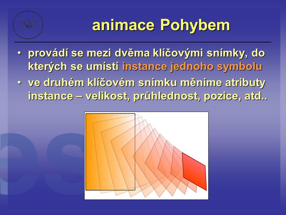 animace Pohybem provádí se mezi dvěma klíčovými snímky, do kterých se umístí instance jednoho symboluprovádí se mezi dvěma klíčovými snímky, do kterýc