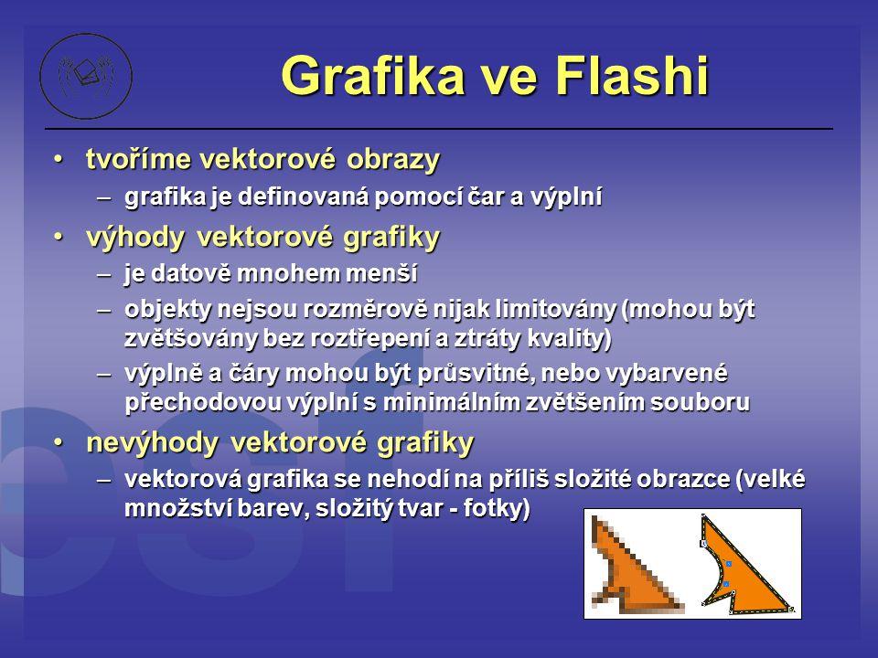 Grafika ve Flashi tvoříme vektorové obrazytvoříme vektorové obrazy –grafika je definovaná pomocí čar a výplní výhody vektorové grafikyvýhody vektorové