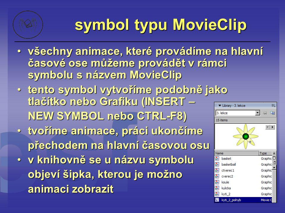symbol typu MovieClip všechny animace, které provádíme na hlavní časové ose můžeme provádět v rámci symbolu s názvem MovieClipvšechny animace, které p