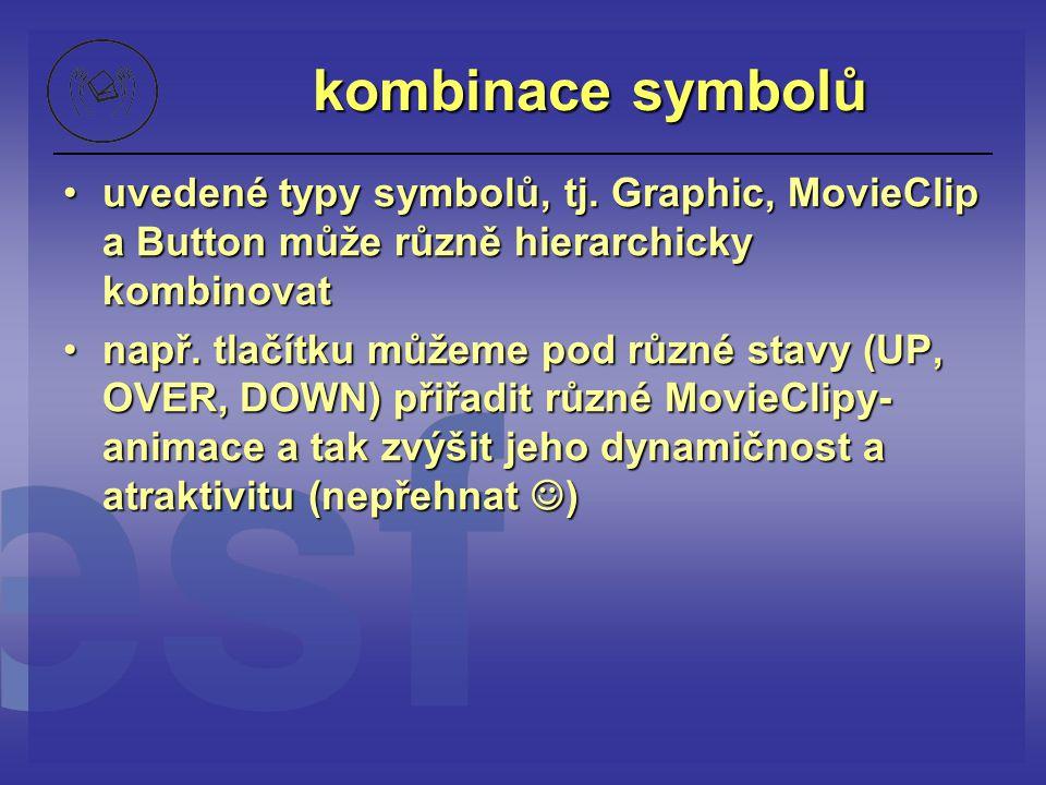 kombinace symbolů uvedené typy symbolů, tj. Graphic, MovieClip a Button může různě hierarchicky kombinovatuvedené typy symbolů, tj. Graphic, MovieClip