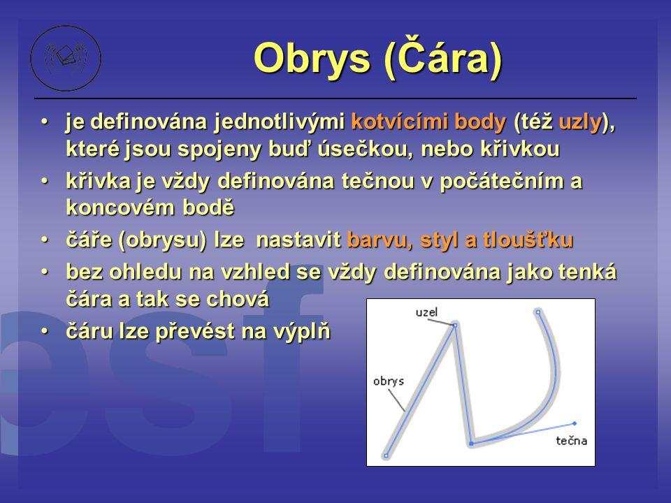Obrys (Čára) je definována jednotlivými kotvícími body (též uzly), které jsou spojeny buď úsečkou, nebo křivkouje definována jednotlivými kotvícími bo
