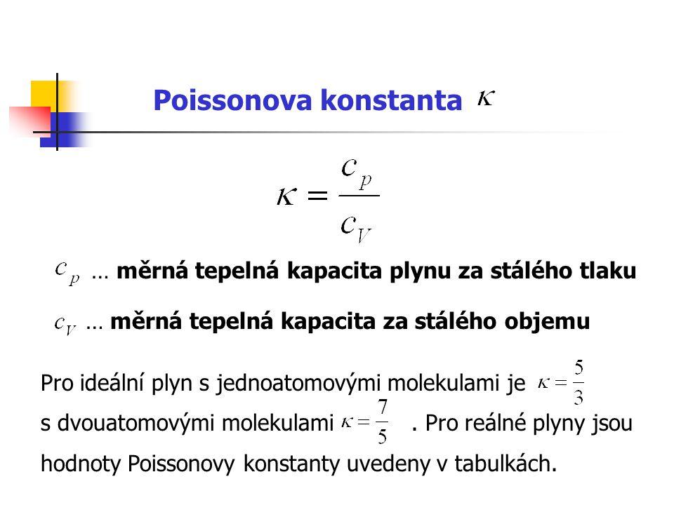 … měrná tepelná kapacita plynu za stálého tlaku … měrná tepelná kapacita za stálého objemu Pro ideální plyn s jednoatomovými molekulami je s dvouatomo