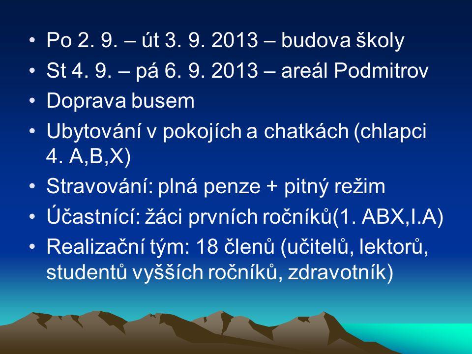 Po 2.9. – út 3. 9. 2013 – budova školy St 4. 9. – pá 6.