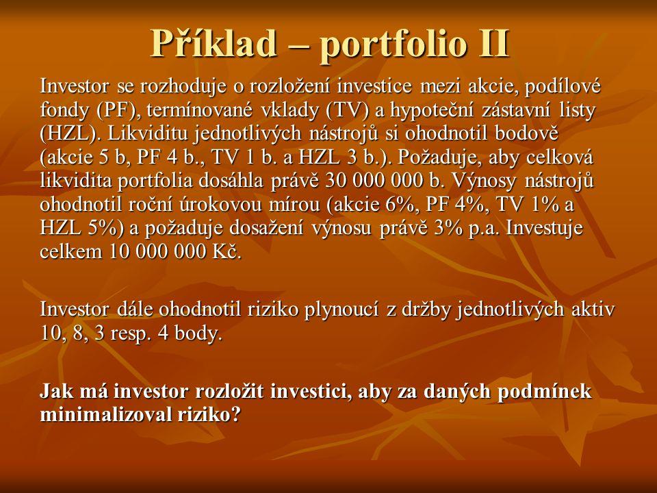 Příklad – portfolio II Investor se rozhoduje o rozložení investice mezi akcie, podílové fondy (PF), termínované vklady (TV) a hypoteční zástavní listy