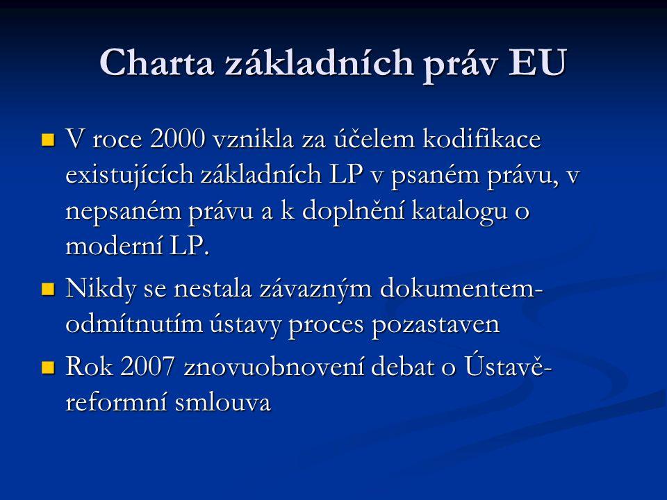 Charta základních práv EU V roce 2000 vznikla za účelem kodifikace existujících základních LP v psaném právu, v nepsaném právu a k doplnění katalogu o moderní LP.