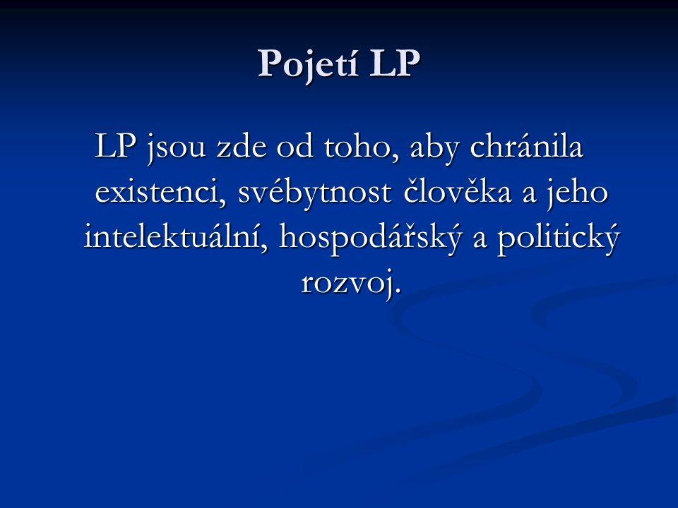Pojetí LP LP jsou zde od toho, aby chránila existenci, svébytnost člověka a jeho intelektuální, hospodářský a politický rozvoj.