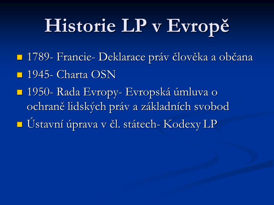 Historie LP v Evropě 1789- Francie- Deklarace práv člověka a občana 1789- Francie- Deklarace práv člověka a občana 1945- Charta OSN 1945- Charta OSN 1