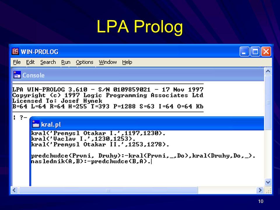 10 LPA Prolog