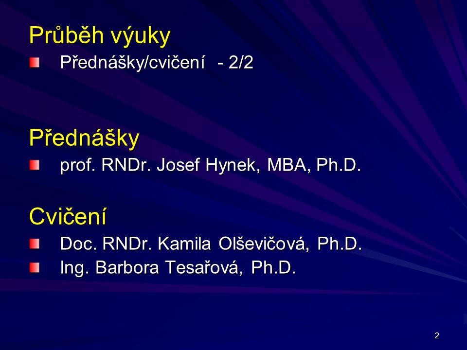 2 Průběh výuky Přednášky/cvičení - 2/2 Přednášky prof. RNDr. Josef Hynek, MBA, Ph.D. Cvičení Doc. RNDr. Kamila Olševičová, Ph.D. Ing. Barbora Tesařová