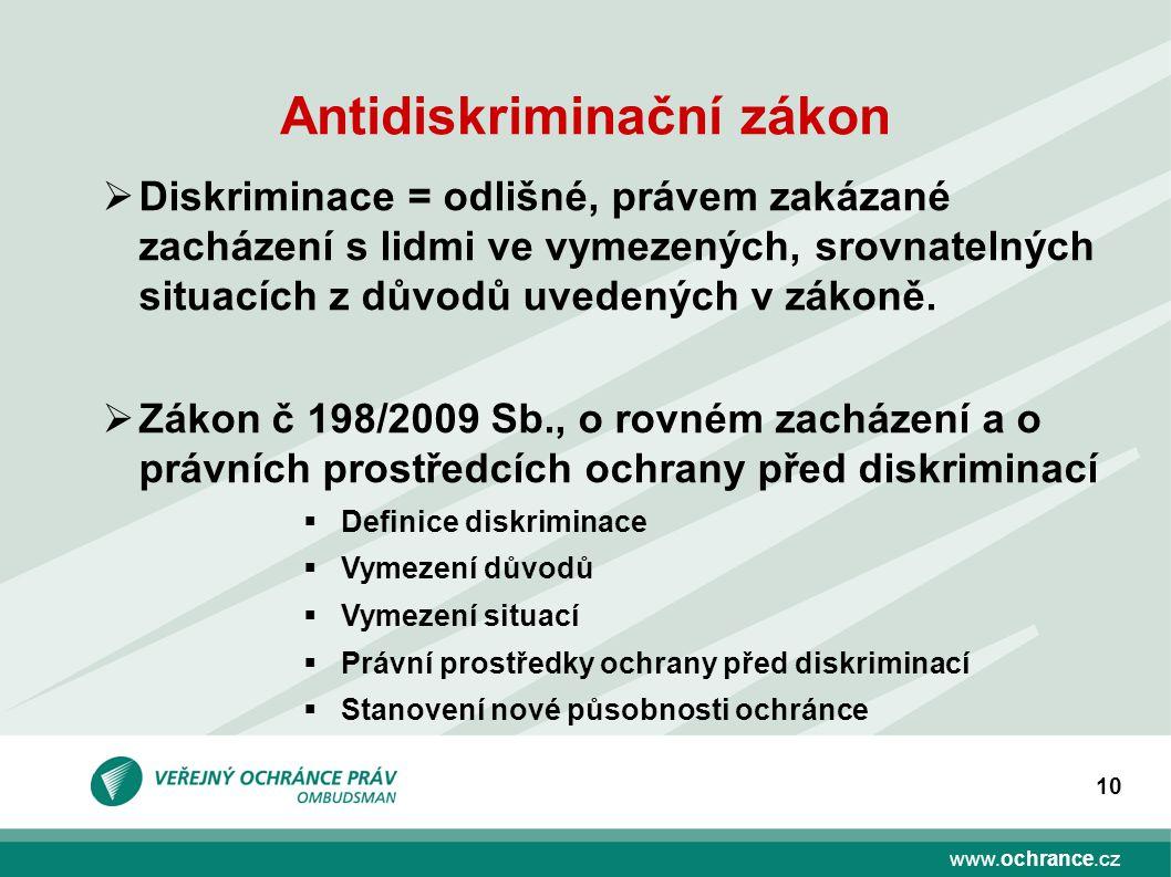 www.ochrance.cz 10 Antidiskriminační zákon  Diskriminace = odlišné, právem zakázané zacházení s lidmi ve vymezených, srovnatelných situacích z důvodů uvedených v zákoně.