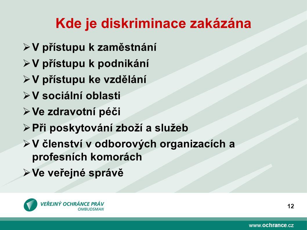 www.ochrance.cz 12 Kde je diskriminace zakázána  V přístupu k zaměstnání  V přístupu k podnikání  V přístupu ke vzdělání  V sociální oblasti  Ve zdravotní péči  Při poskytování zboží a služeb  V členství v odborových organizacích a profesních komorách  Ve veřejné správě