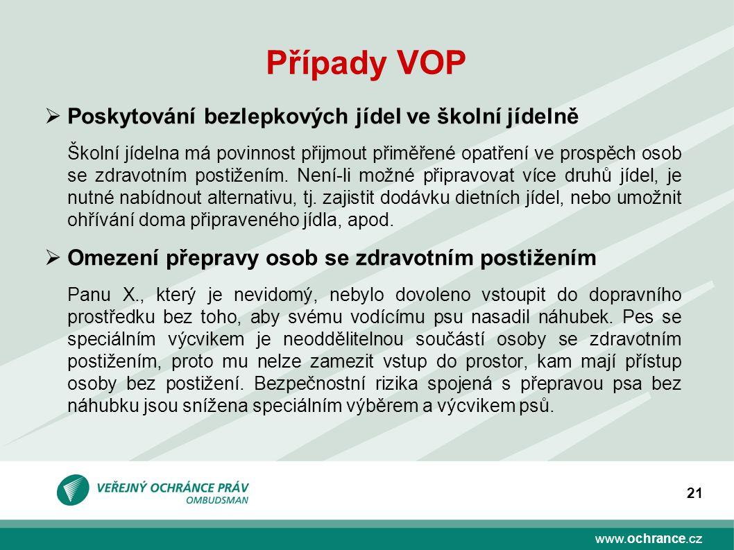 www.ochrance.cz 21 Případy VOP  Poskytování bezlepkových jídel ve školní jídelně Školní jídelna má povinnost přijmout přiměřené opatření ve prospěch osob se zdravotním postižením.