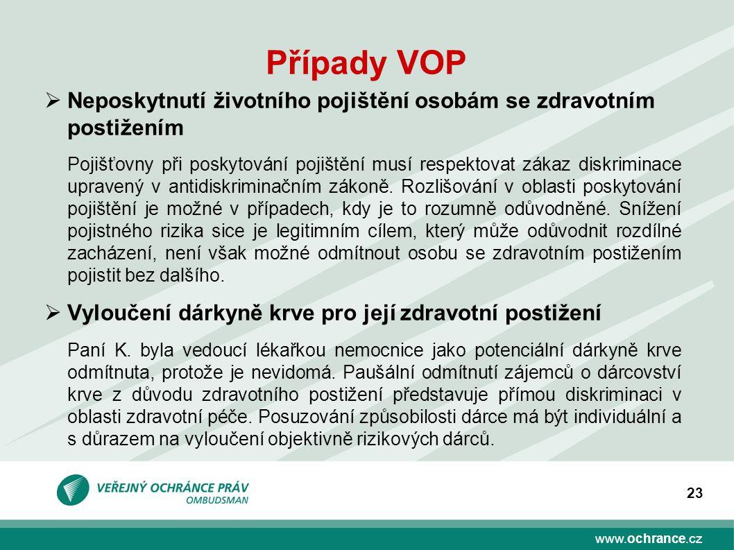 www.ochrance.cz 23 Případy VOP  Neposkytnutí životního pojištění osobám se zdravotním postižením Pojišťovny při poskytování pojištění musí respektovat zákaz diskriminace upravený v antidiskriminačním zákoně.