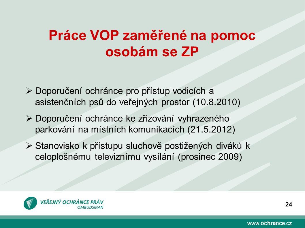 www.ochrance.cz 24 Práce VOP zaměřené na pomoc osobám se ZP  Doporučení ochránce pro přístup vodicích a asistenčních psů do veřejných prostor (10.8.2
