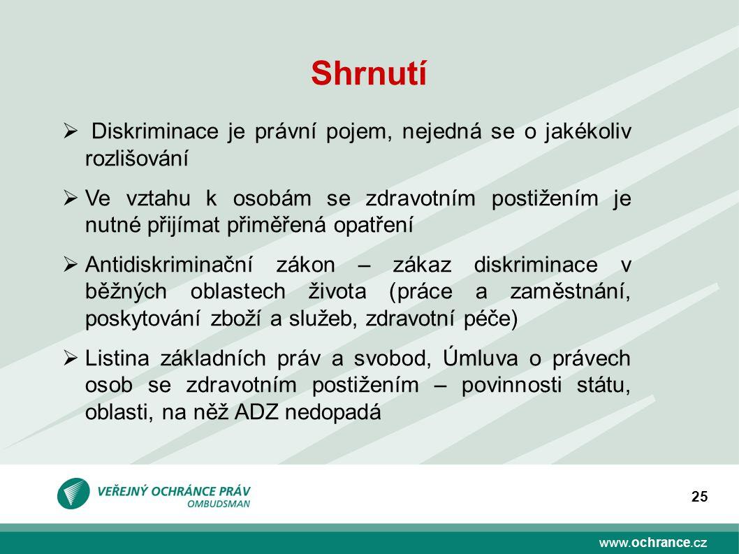 www.ochrance.cz 25 Shrnutí  Diskriminace je právní pojem, nejedná se o jakékoliv rozlišování  Ve vztahu k osobám se zdravotním postižením je nutné p