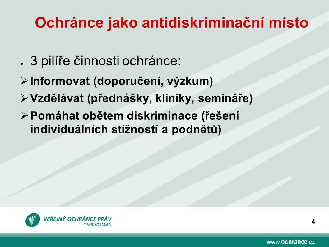 www.ochrance.cz 4 Ochránce jako antidiskriminační místo ● 3 pilíře činnosti ochránce:  Informovat (doporučení, výzkum)  Vzdělávat (přednášky, klinik