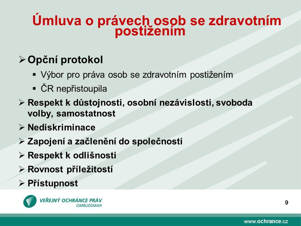 www.ochrance.cz 9 Úmluva o právech osob se zdravotním postižením  Opční protokol  Výbor pro práva osob se zdravotním postižením  ČR nepřistoupila 