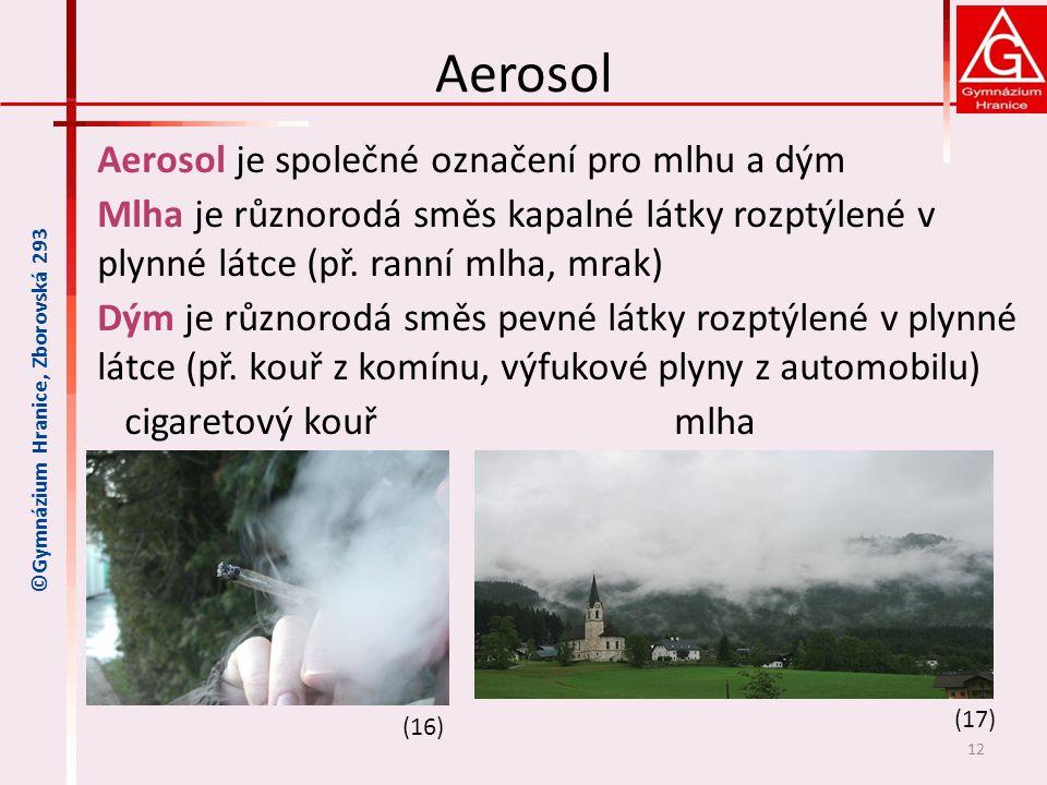 Aerosol Aerosol je společné označení pro mlhu a dým Mlha je různorodá směs kapalné látky rozptýlené v plynné látce (př. ranní mlha, mrak) Dým je různo