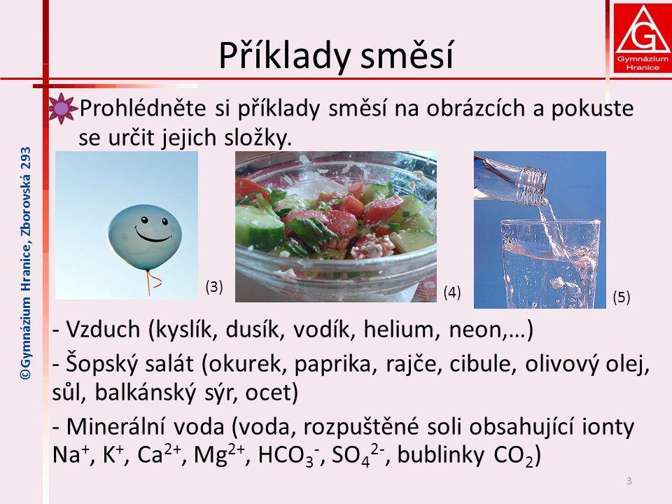 Příklady směsí Prohlédněte si příklady směsí na obrázcích a pokuste se určit jejich složky. - Vzduch (kyslík, dusík, vodík, helium, neon,…) - Šopský s