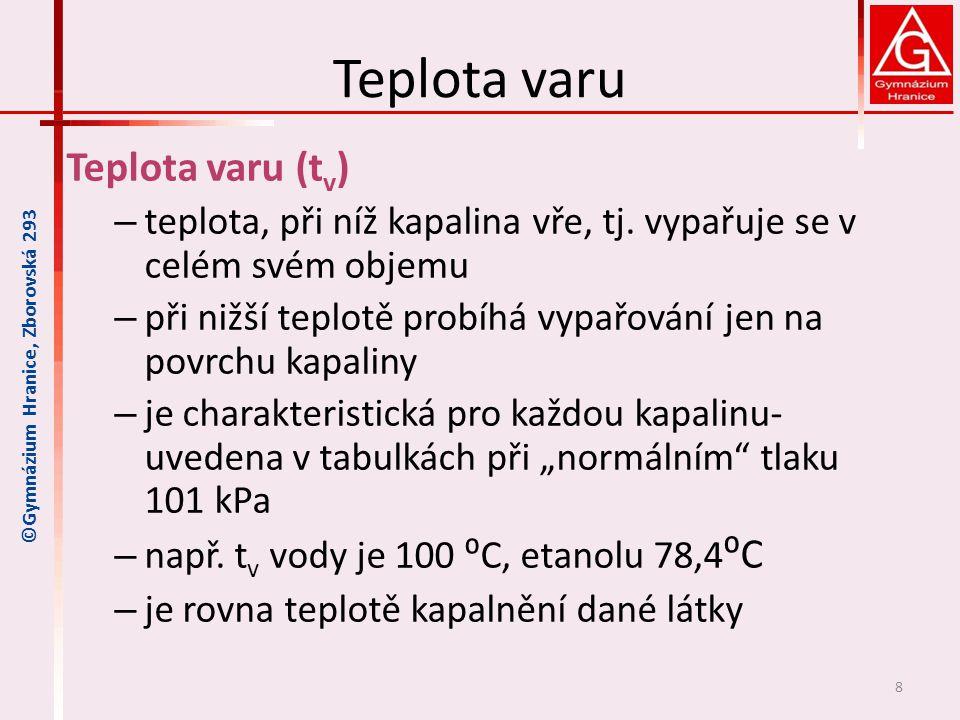 Teplota varu Teplota varu (t v ) – teplota, při níž kapalina vře, tj. vypařuje se v celém svém objemu – při nižší teplotě probíhá vypařování jen na po