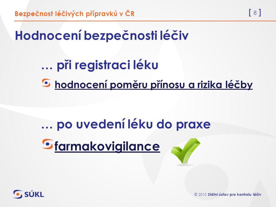 [ 9 ] © 2010 Státní ústav pro kontrolu léčiv Farmakovigilance v ČR Bezpečnost léčivých přípravků v ČR