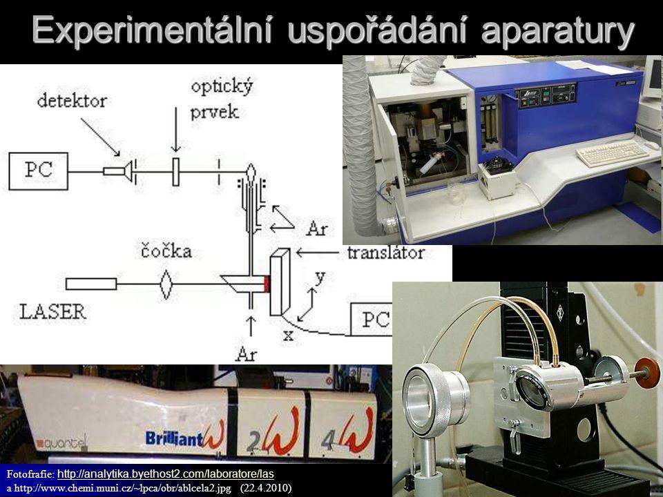Experimentální uspořádání aparatury Fotofrafie: http://analytika.byethost2.com/laboratore/las http://analytika.byethost2.com/laboratore/las a http://w