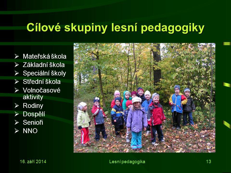 16. září 2014Lesní pedagogika12 Cíle lesní pedagogiky III  Vzbuzování tvůrčích, kreativních sil;  Rozvíjení fantazie;  Rozvíjení bez výkonového tla