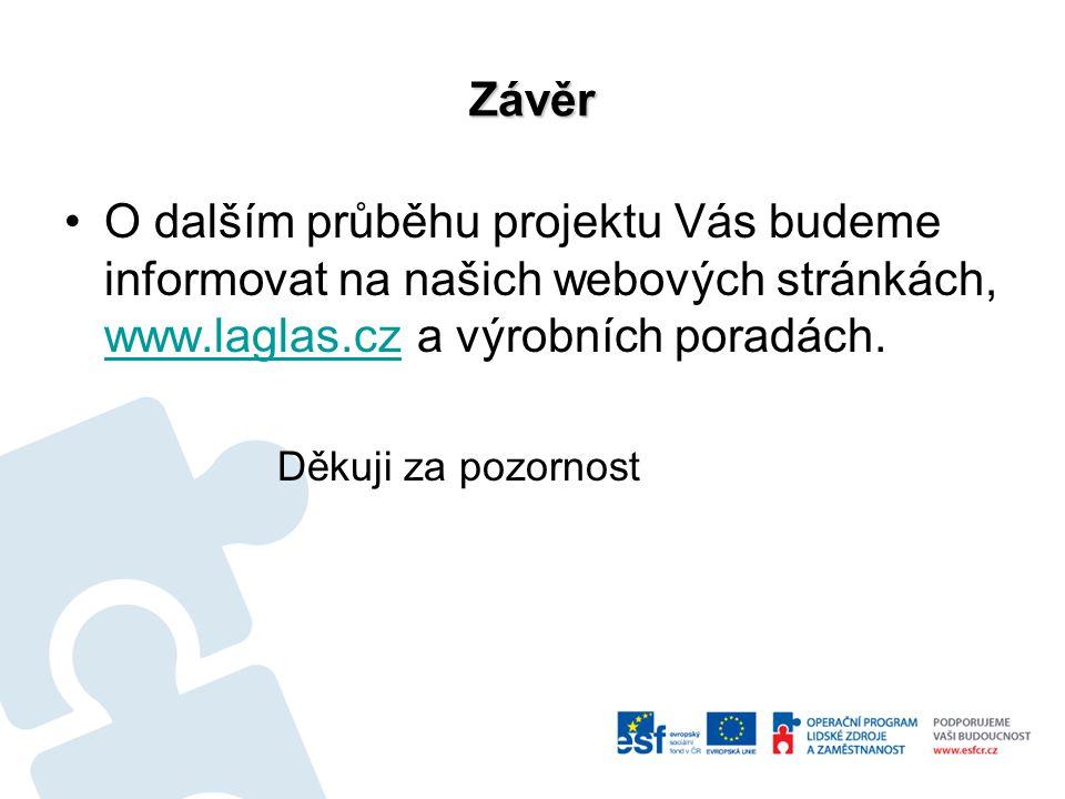 Závěr O dalším průběhu projektu Vás budeme informovat na našich webových stránkách, www.laglas.cz a výrobních poradách. www.laglas.cz Děkuji za pozorn