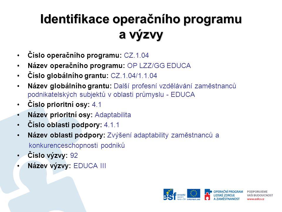 Identifikace operačního programu a výzvy Číslo operačního programu: CZ.1.04 Název operačního programu: OP LZZ/GG EDUCA Číslo globálního grantu: CZ.1.04/1.1.04 Název globálního grantu: Další profesní vzdělávání zaměstnanců podnikatelských subjektů v oblasti průmyslu - EDUCA Číslo prioritní osy: 4.1 Název prioritní osy: Adaptabilita Číslo oblasti podpory: 4.1.1 Název oblasti podpory: Zvýšení adaptability zaměstnanců a konkurenceschopnosti podniků Číslo výzvy: 92 Název výzvy: EDUCA III