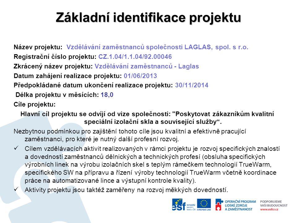 Základní identifikace projektu Název projektu: Vzdělávání zaměstnanců společnosti LAGLAS, spol.
