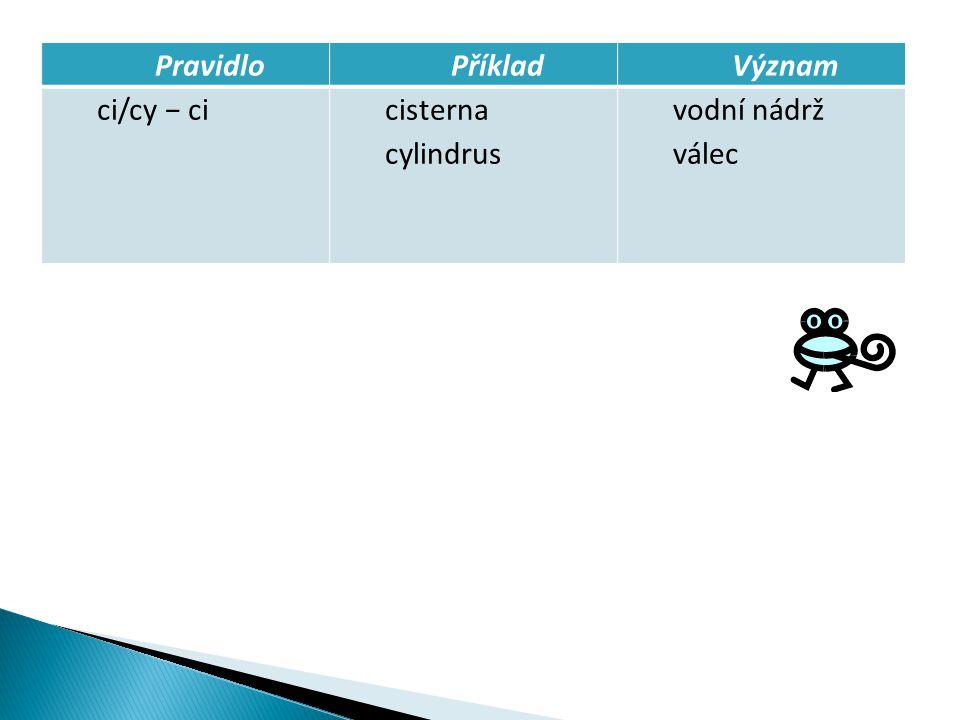 PravidloPříkladVýznam ci/cy − cicisterna cylindrus vodní nádrž válec